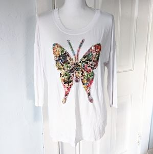 Boston Proper Medium Sequin Colorful Butterfly Top